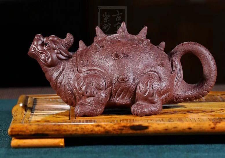 《神兽》正品宜兴紫砂壶纯手工原矿紫泥紫砂制品