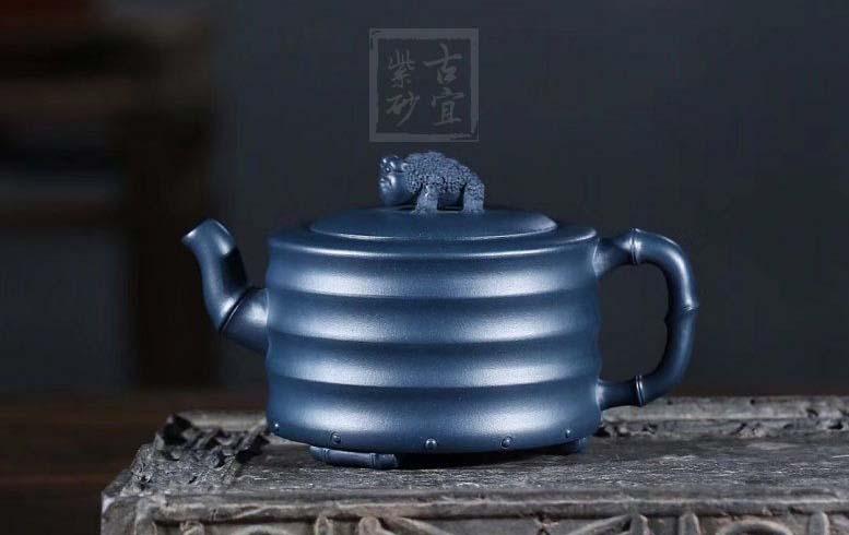 《富贵竹》宜兴紫砂壶茶壶纯全手工原矿优质墨绿泥仿生竹器