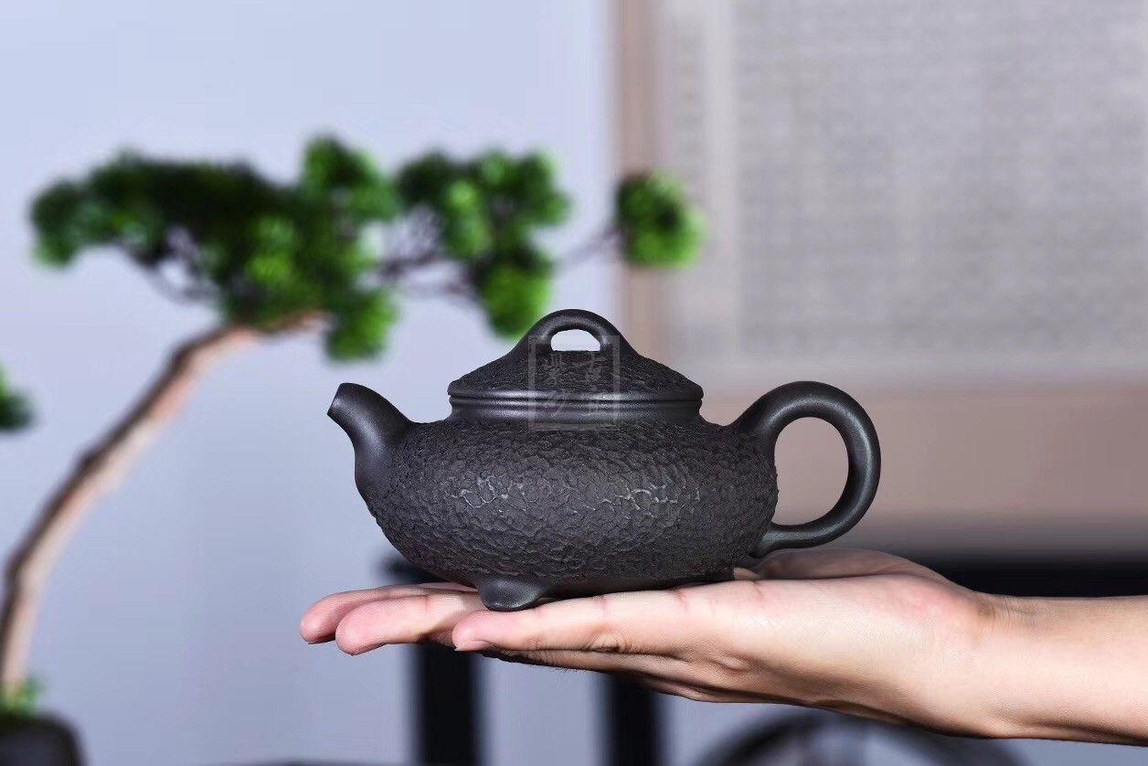 《三足汉韵》原矿黑铁砂宜兴紫砂壶纯全手工名家功夫泡茶壶茶具套装