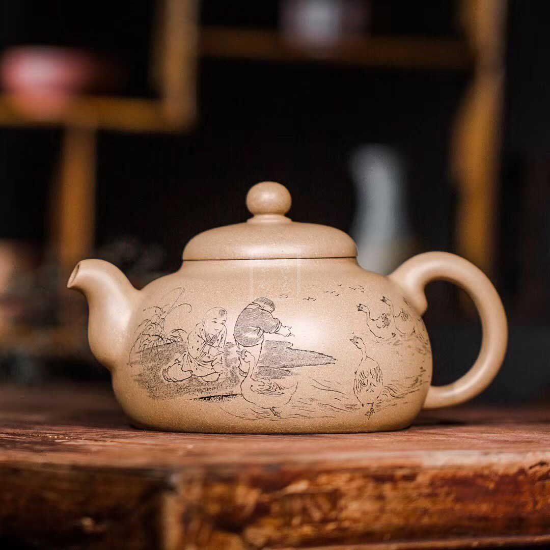 《润珠(乳鼎)》宜兴紫砂壶工艺美术师茶具套装本山段泥润珠