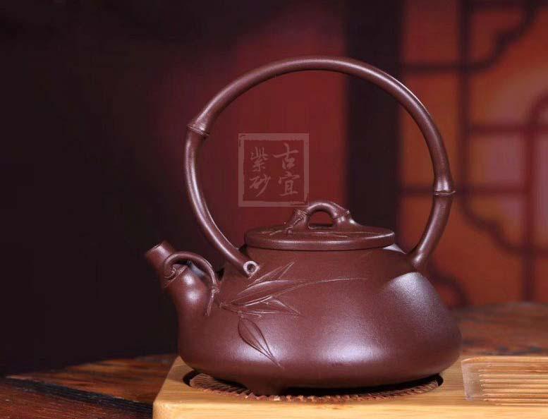 《石瓢提梁》宜兴名家紫砂壶工艺美术师纯手工紫泥茶壶茶具石瓢提梁正品