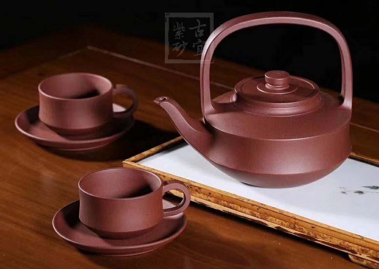 《提壁套组》宜兴名家全纯手工紫砂壶中品四号井底槽青提壁功夫茶壶茶具套装家用