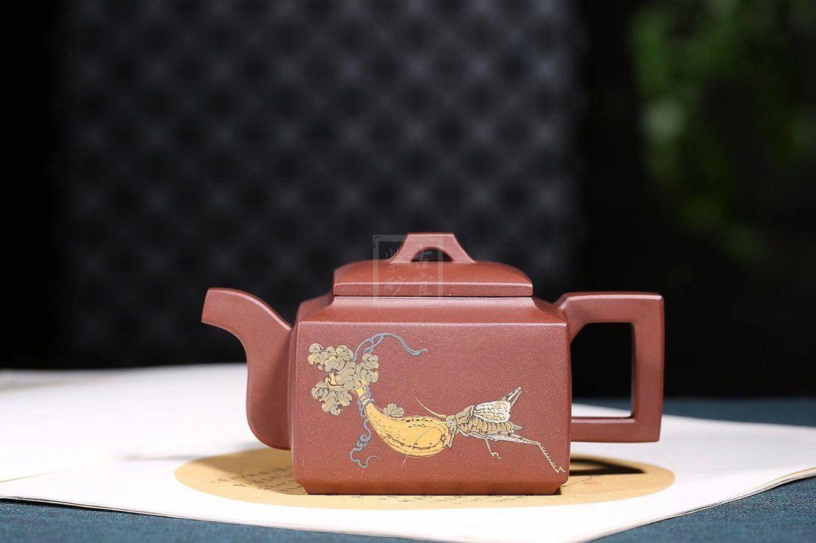 《亚明四方》宜兴紫砂壶全手工名家高级工艺美术师茶具纯泡茶壶底槽青亚明四方