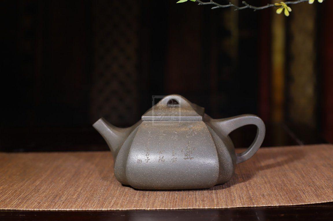 《四方抽角石瓢》经典紫砂壶抽角宜兴全手工高级工艺美术师泡茶壶茶具蟹壳青段泥