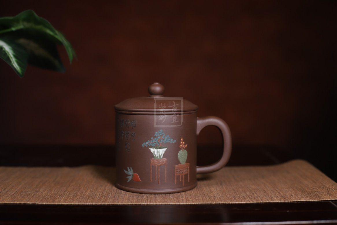 《盖杯》宜兴紫砂壶全手工泡茶壶民间艺人大师紫泥盖杯