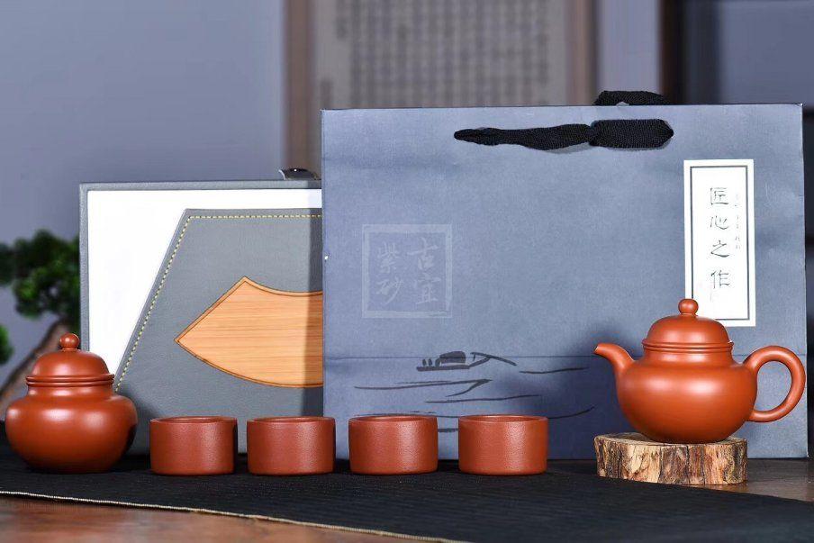 《掇球套组》宜兴紫砂壶助理工艺美术师手工茶壶茶具朱泥掇球
