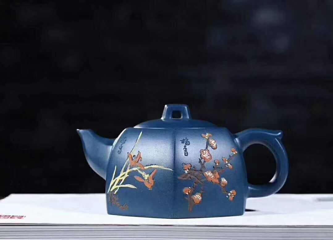 《四君子套组》宜兴紫砂壶周瑞成原矿顶级天青泥全手工茶壶