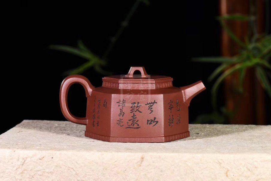 《六方金钟》宜兴高级工艺美术师手工黄龙山底槽泡茶壶六方茶壶茶具
