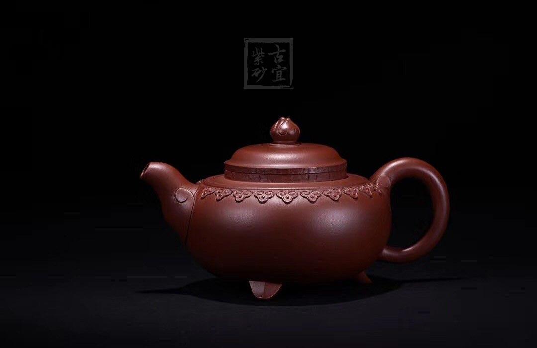 《云肩如意》紫砂壶全手工云肩如意茶壶老师底槽青壶
