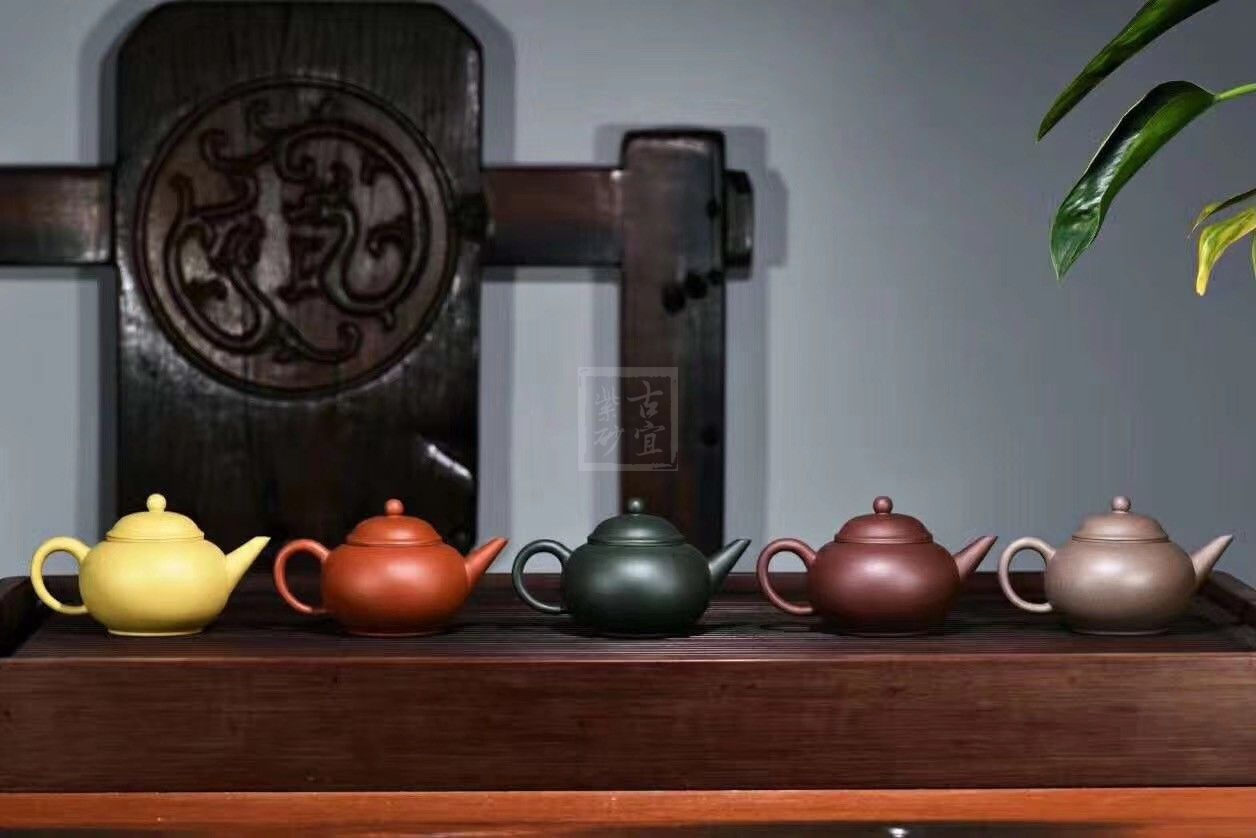 《五色土》绿泥,朱泥,紫泥,青灰泥,段泥纯手工宜兴紫砂壶茶具水平茶壶