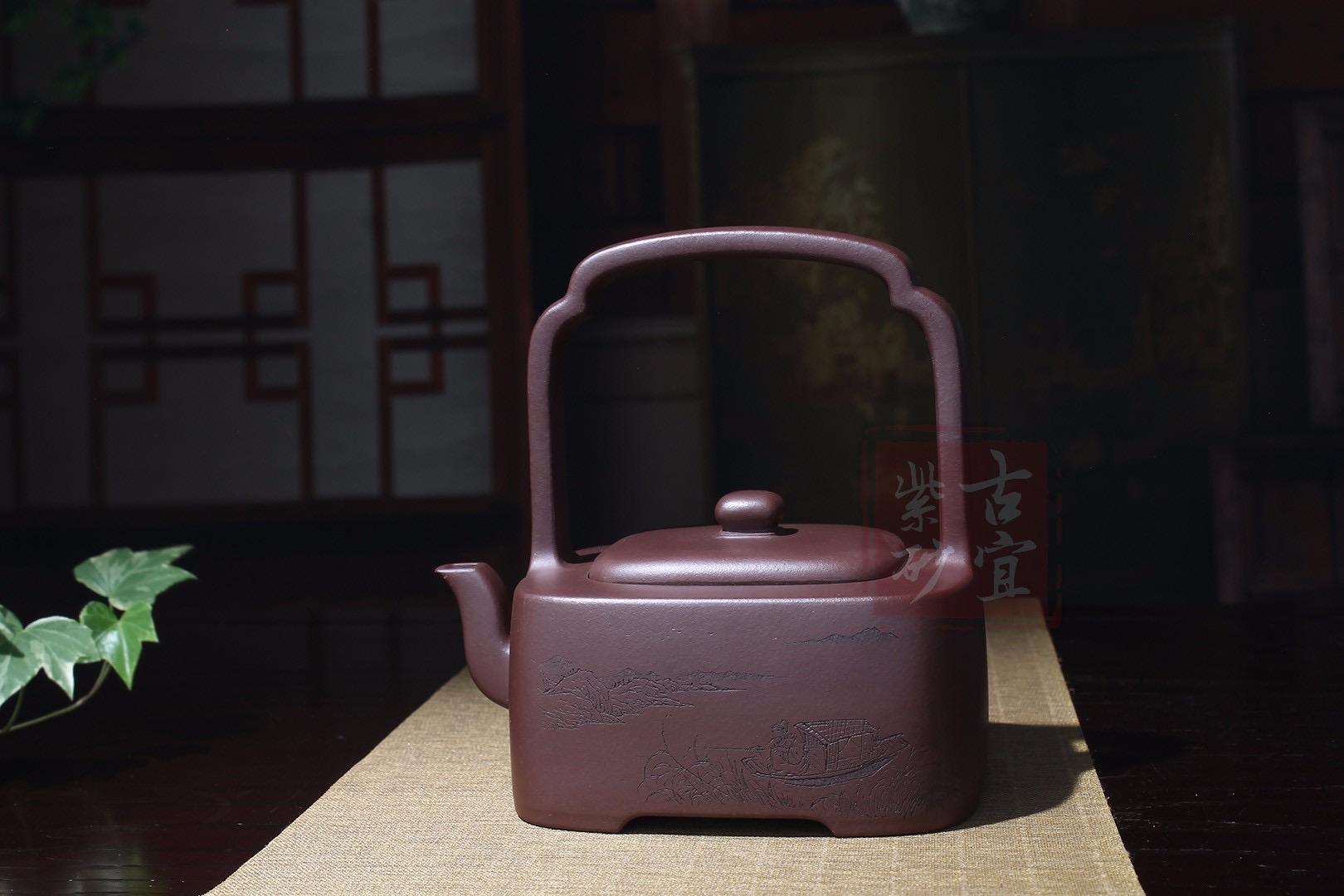 《知音提梁》紫砂壶名家全手工纯制壶名家老紫泥提梁壶