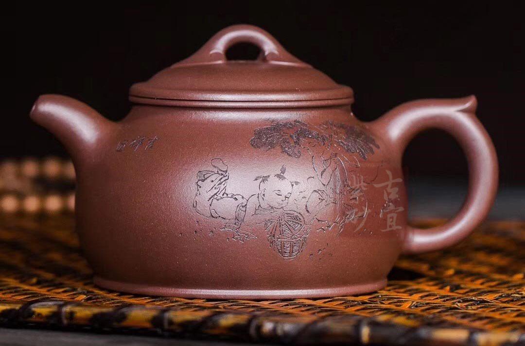 《如意》宜兴紫砂壶纯全手工如意功夫茶壶原矿老紫泥茶具套装