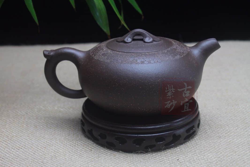 《心形如意》宜兴名家纯全手工紫砂壶原矿紫玉金砂泥心形如意壶功夫茶具茶壶
