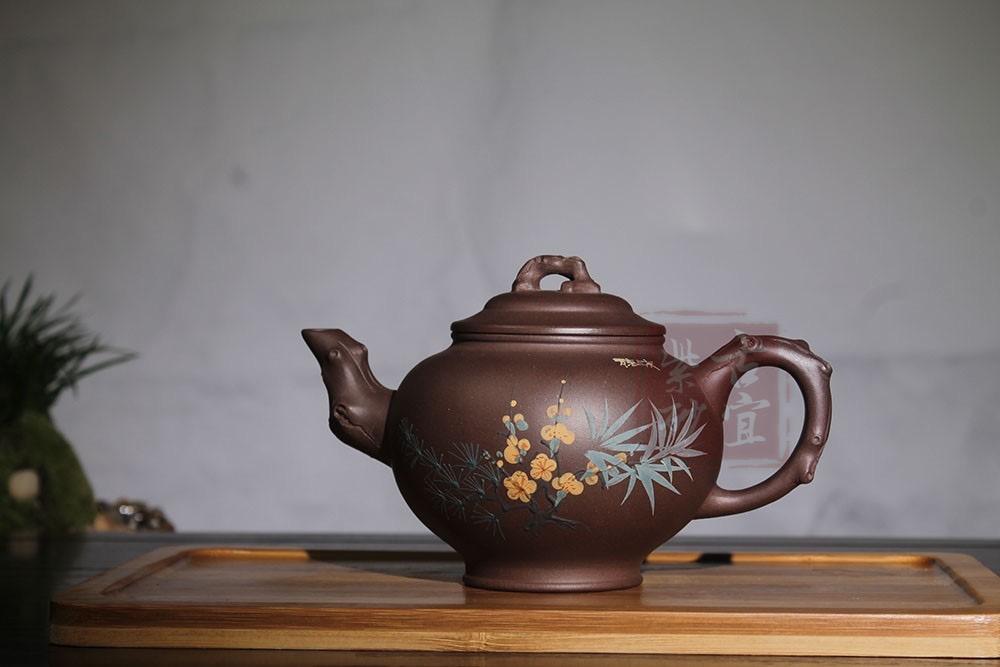 《报春》宜兴紫砂壶纯全手工名家原矿老紫泥中容量茶壶梅花报春