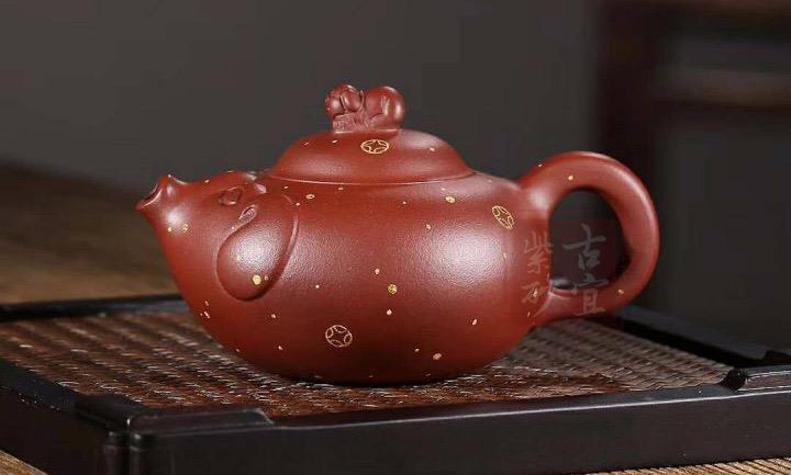 《财源滚滚》全手工雕刻紫砂壶财源滚滚紫砂茶具茶壶家用收藏